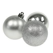 Joulupallo muovi hopea 6cm 10kpl