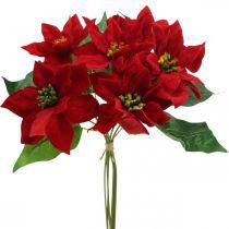 Keinotekoinen joulutähti punainen silkkikukkia Deco 6kpl paketti