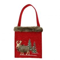 Joulupussi punainen turkista 15,5cm x 18cm 3kpl
