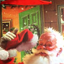 Joulupussi joulupukilla 32cm x26cm x10cm
