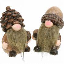 Deco Gnome keraamiset käpyjä ja tammenterho lajiteltu H10,5/12cm 4kpl