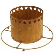 Lyhty tähdillä, adventti, seppeleen pidike metallista, joulukoriste Ruoste Ø25cm