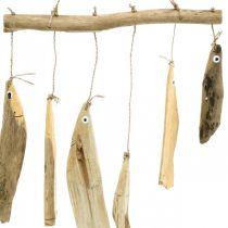 Merellinen kalakoriste, ajopuu tuulikello, puinen koriste L50cm W30cm L50cm W30cm