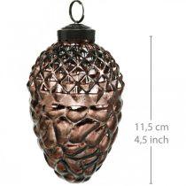 Käpyjä ripustettavaksi, puukoriste aitoa lasia, syyskoriste, antiikkinen ilme Ø7cm H11,5cm 6kpl.