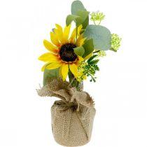 Keinotekoinen auringonkukka, silkkikukka, kesäkoriste, auringonkukka juuttipussissa