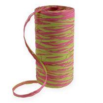 Raffia-nauha kaksivärinen omena vihreä-vaaleanpunainen 200m