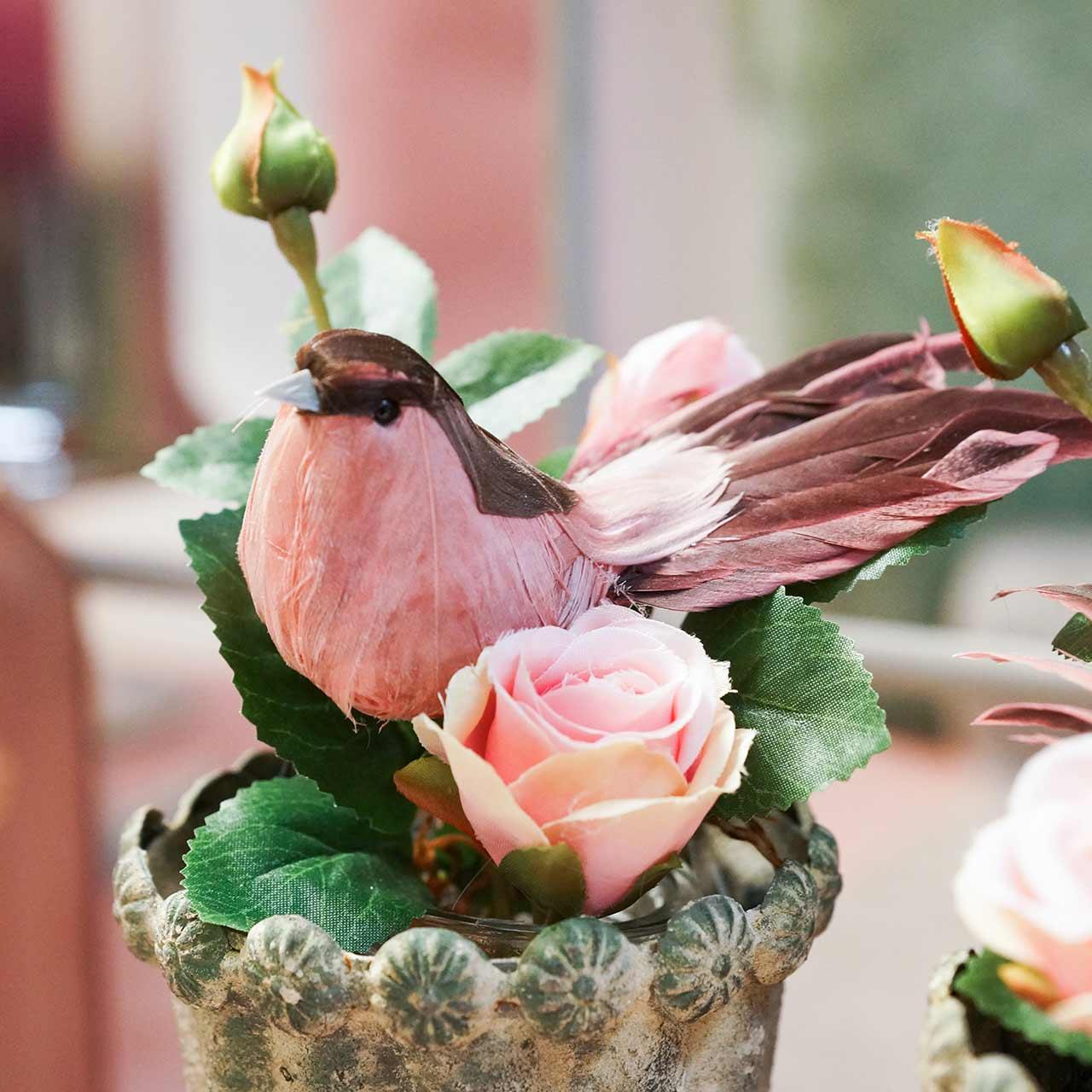 Höyhenellinen lintu langalla vaaleanpunainen 12cm 4kpl
