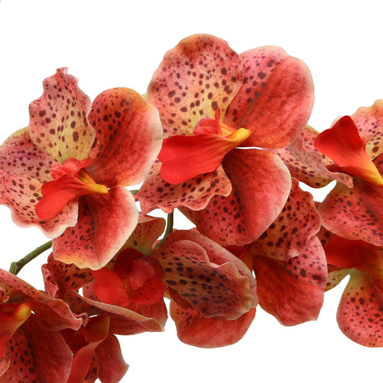 Keinotekoinen orkidea Phaelaenopsis punainen, oranssi H81cm