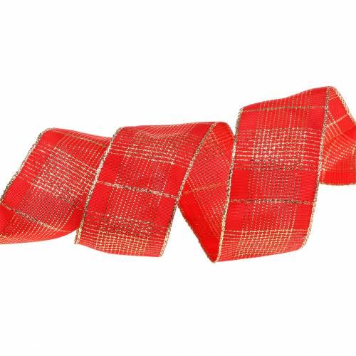Tarkista nauha, jonka langanreuna on punainen, kulta 40mm L20m