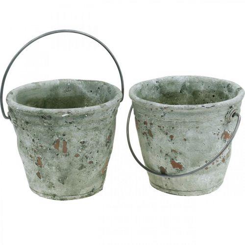 Koristeellinen ämpäri, keraaminen istutukseen, puutarhan koristeluun, kasviämpäri antiikkilook Ø13,5cm K12cm 2kpl.