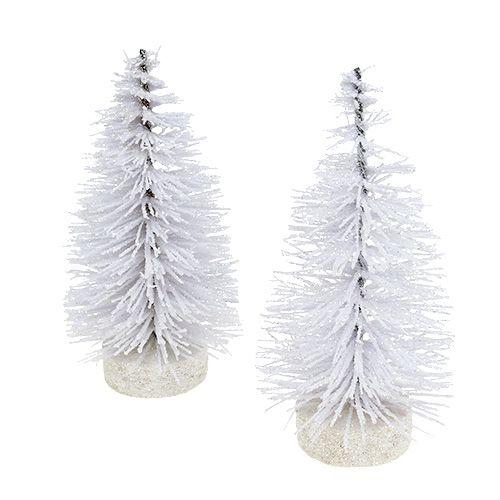 Koristeellinen puu kimalteli valkoisella K14cm 4kpl