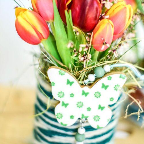 Riippuva koristelu Sydän kukka perhonen valkoinen, vihreä puu kevät koristelu 6kpl