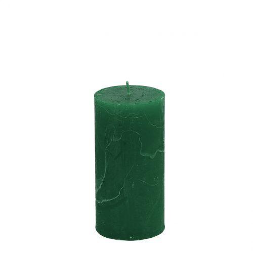 Yksiväriset kynttilät tummanvihreä 50x100mm 4kpl