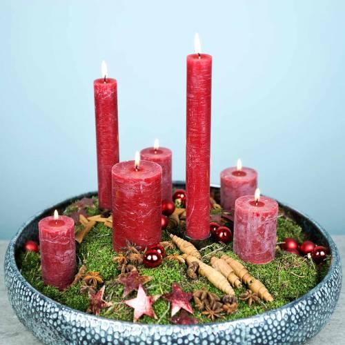Yhtenäiset kynttilät, tummanpunaiset, erikokoiset
