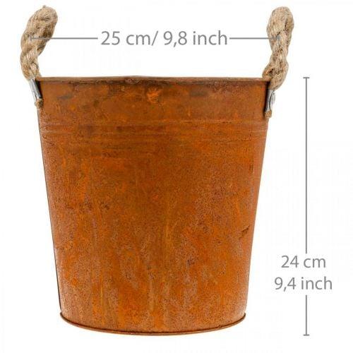 Ruukku kahvoilla, istutusastia, metalliastia ruostekoristeella Ø25cm K24cm