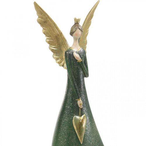 Deco Figure Angel Vihreä jouluenkeli kultaisella sydämellä H41cm