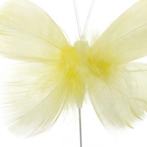 Koristeelliset perhoset langalla, kevätkoriste, höyhenperhoset keltaisen sävyisiä 6kpl.