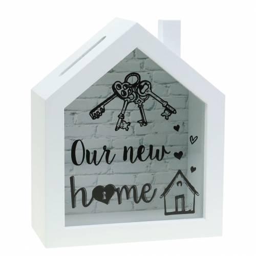 """Säästölaatikko """"Uusi koti"""" puulasi valkoinen 15x7cm K18cm"""