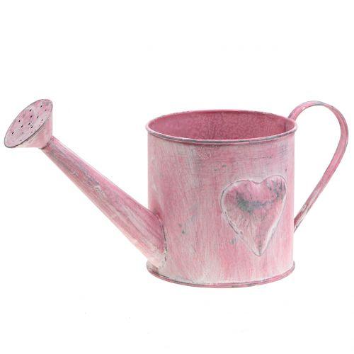 Istutin kastelukannu sydämen vaaleanpunainen, valkoinen pesty Ø12.5cm H13cm