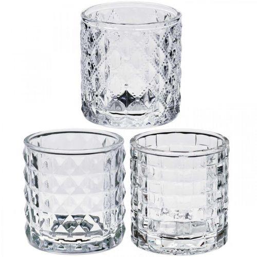 Lasi lyhty kuvio sekoitus, kynttilä koristelu, koristeellinen lasipurkki, pöydän koristelu 3kpl sarjassa