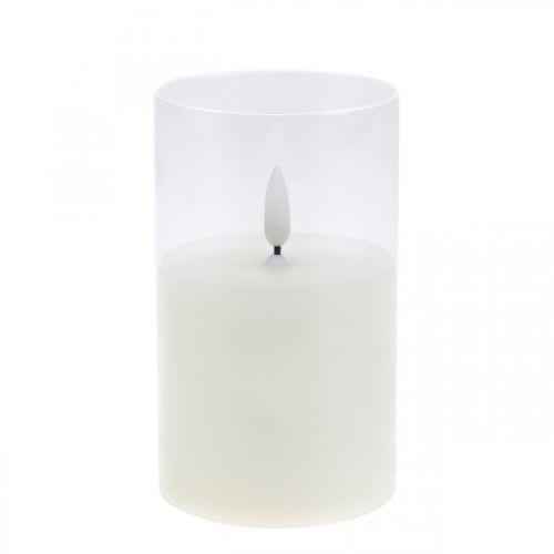 LED-kynttilä lasissa liekkitehosteella, sisäkynttilä lämmin valkoinen, LED ajastimella paristokäyttöinen Ø7.5 H12.5cm