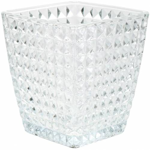 Lasi lyhty kuutio fasettikuvio, pöydän koriste, maljakko lasista, lasikoriste 2kpl.