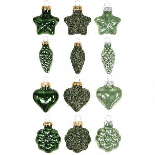 Mini joulukuusi koristeet Mix Vihreä lasi joulukoriste valikoituja 4cm 12kpl 12kpl