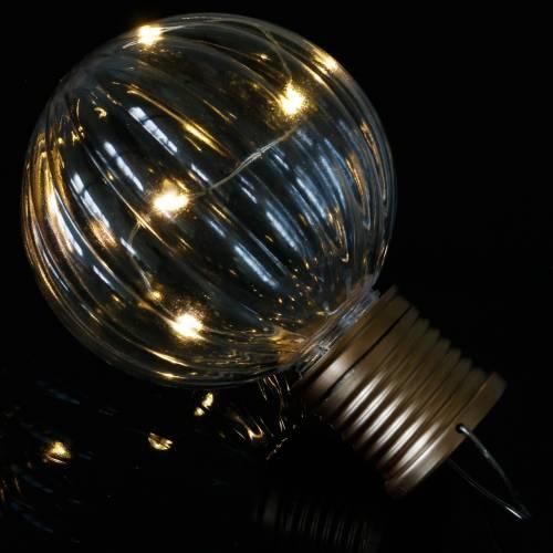 LED-aurinkolamppu retro näyttää läpinäkyvästä lämpimästä valkoisesta Ø8cm