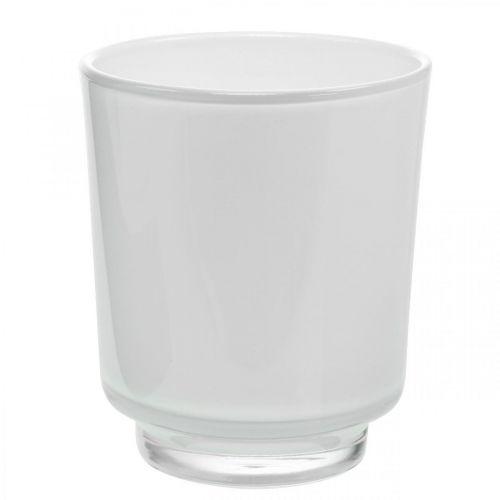 Kukkamaljakko, lasipurkki, istutin Valkoinen H16cm Ø13,4cm