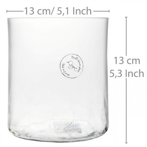 Sylinterimäinen lasimaljakko Crackle kirkas, satiini Ø13cm H13.5cm