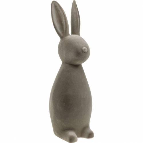Bunny Tummanharmaa Flocked Pääsiäispupu Pääsiäisen koriste Pöydän koriste Pääsiäinen Pääsiäinen