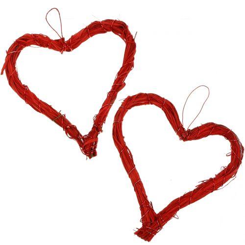 Hieno sydän ripustaa punainen 15cm 8kpl
