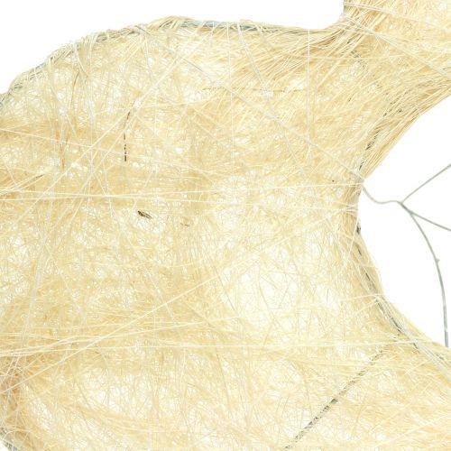 Sydämen mansetti sisal valkaistu 25cm 6kpl
