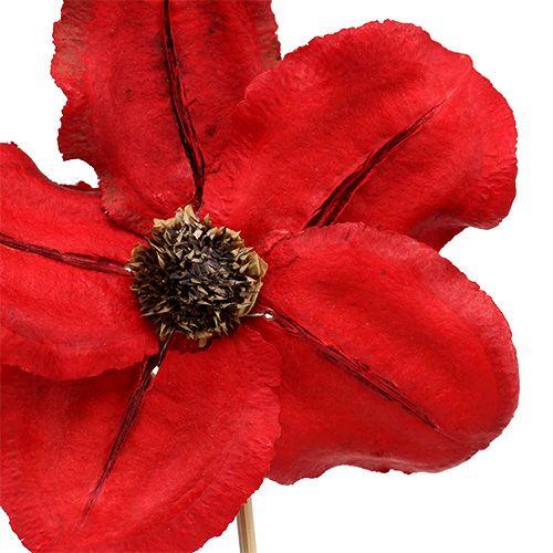 Puinen kukka pistokkeena punainen Ø9cm - 12cm L45cm 15St