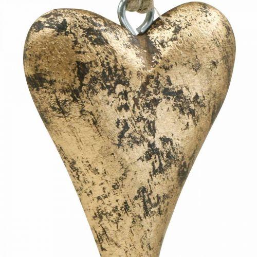 Puinen sydän kultainen vaikutus, ystävänpäivä, häät koriste 10×7cm