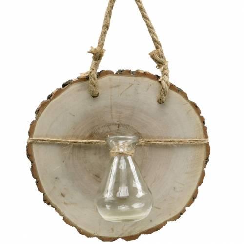 Puulevy lasimaljakolla ripustettavaksi Ø22cm