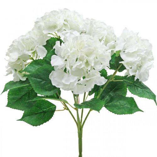 Deco kukkakimppu Hortensia valkoinen keinotekoisia kukkia 5 kukkii 48cm