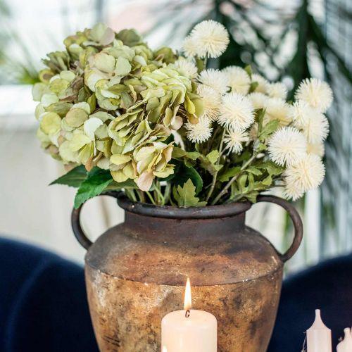 Hortensia kimppu keinotekoinen vihreä, ruskea 5 kukkia 48cm