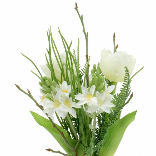 Keinotekoinen kimppu, jossa hyasintteja ja tulppaaneja 34 cm