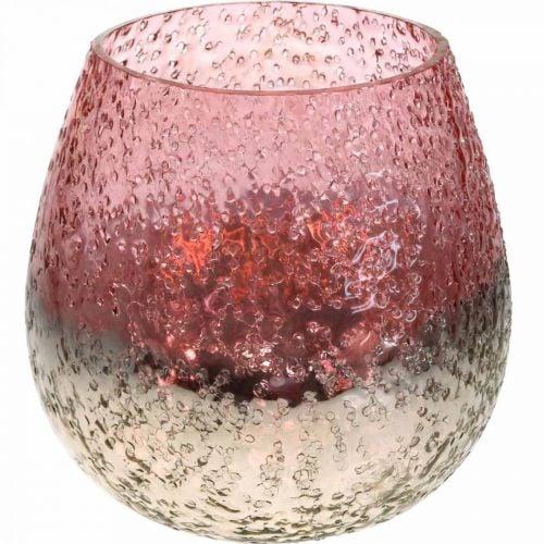 Lasinen lyhty, teekynttilän pidike, pöydän koriste, kynttilä lasi vaaleanpunainen/hopea Ø15cm K15cm