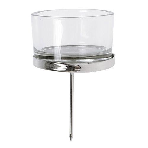 Kynttilänjalka lasi hopea 4kpl