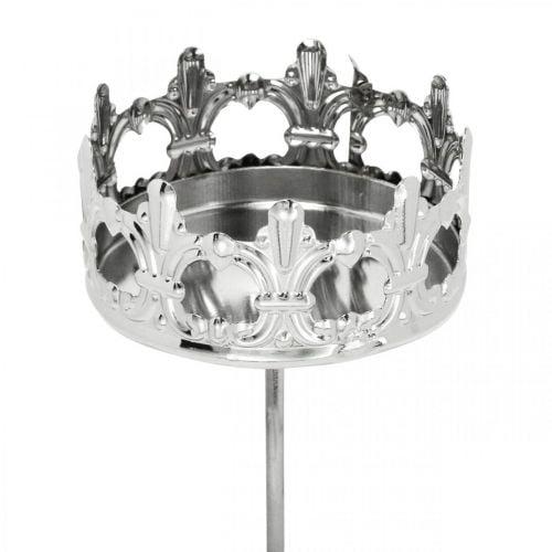 Kynttiläkoriste kruunu, teekynttilänpidike tikkuun, adventtikoriste hopea Ø5,5cm 4kpl.