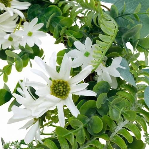 Keinotekoinen eukalyptus seppele saniaisella, Cape päivänkakkaroilla ja jasmiinilla, oviseppele, koristeellinen seppele, pöydän koristeeksi.