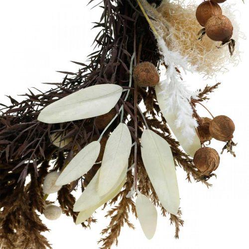 Koristeellinen seppele keinotekoisia kuivattuja ruohoja ja hedelmiä oviseppele Ø50cm
