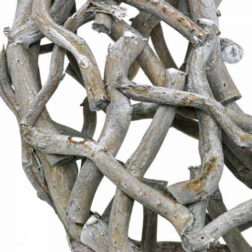 Koristeellinen seppele Puu Harmaa Kalkittu Luonnollinen seppele Pöydän koriste Ø50cm