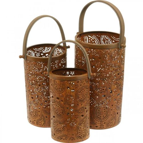 Metallinen lyhty, jossa on arvokasta ruostetta, kesäkoriste, lyhtysarja paisley-kuviolla Ø20/19/14cm K23,5/17/12,5cm