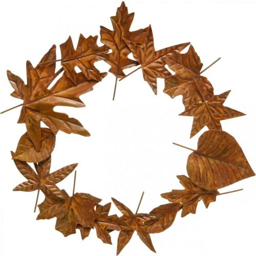 Leaf Wreath Rust, Metal Decoration, Seppele Lepo, Syksyn Koriste, Muistomerkki Kukka Ø29cm