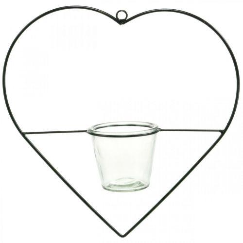 Tuuli valo sydän metalli 38cm tealight haltija ripustaa lasin kanssa