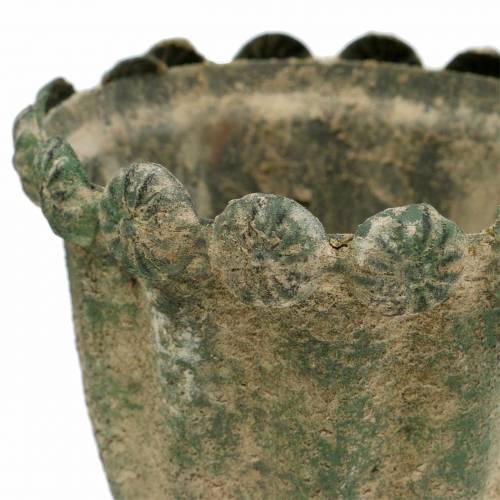 Koristeellinen kuppi, antiikki, metalli, sammalenvihreä, Ø9cm, H14,5cm