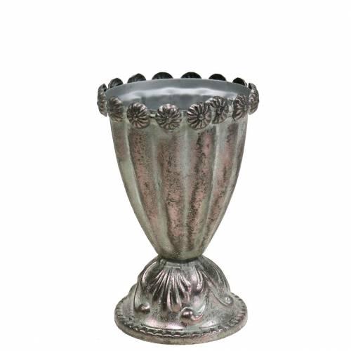 Koristeellinen metallikuppi hopeanharmaa, valkoinen pesty Ø9,7cm K14,7cm